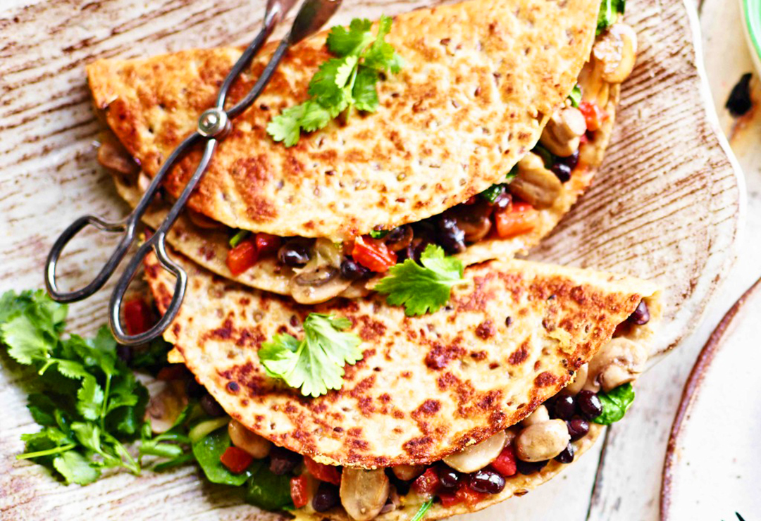 Breakfast quesadillas with black bean