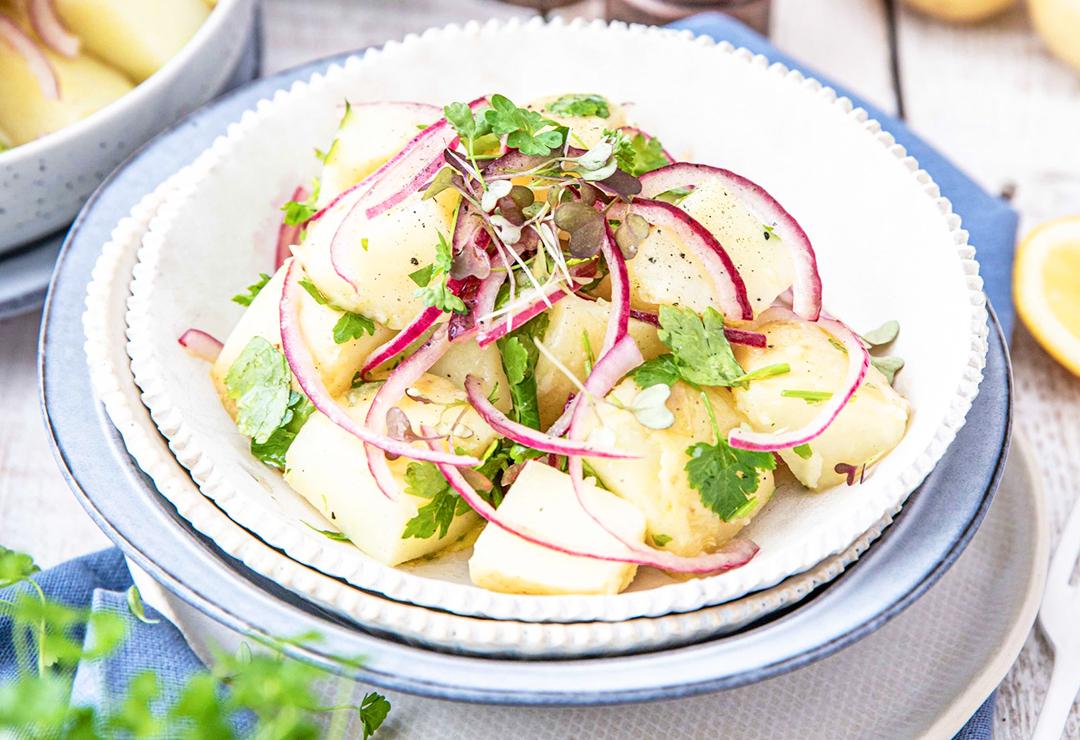 Potato salad with red onion