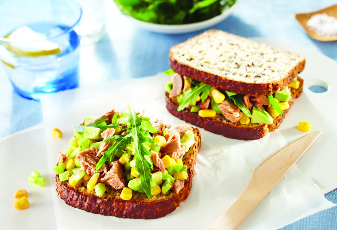 Tuna, Corn And Celery Sandwich On Bürgen® Soy-Lin®