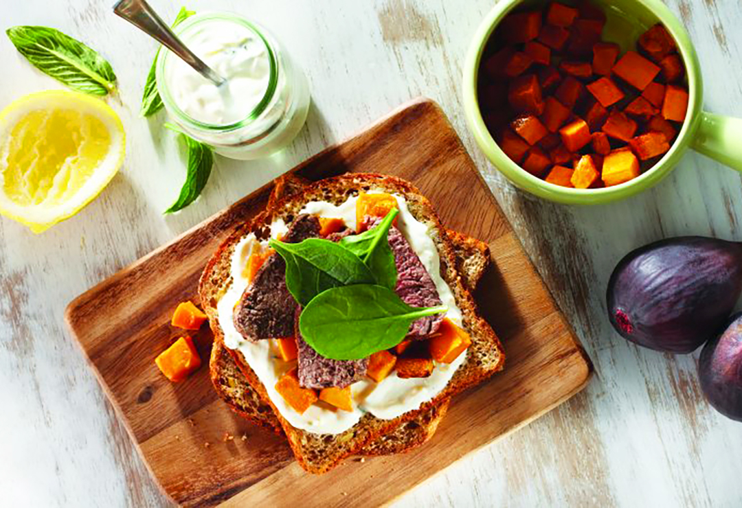 Minted yoghurt, lamb and pumpkin on Bürgen® Pumpkin Seed