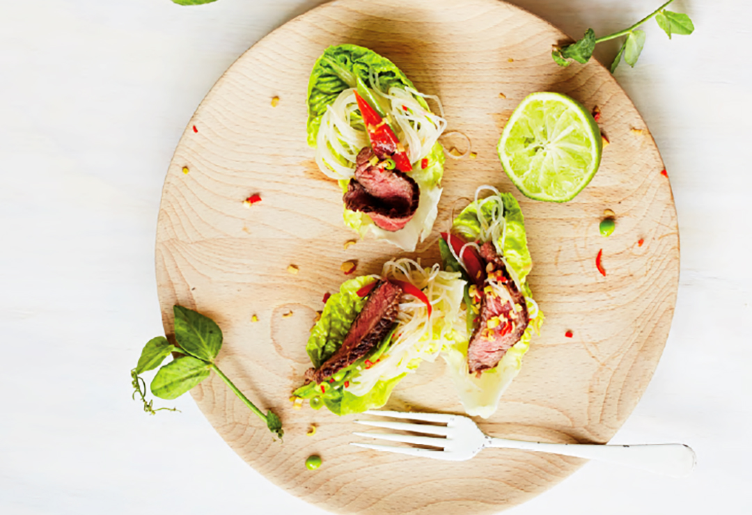 Spicy Beef & Noodle Lettuce Wraps