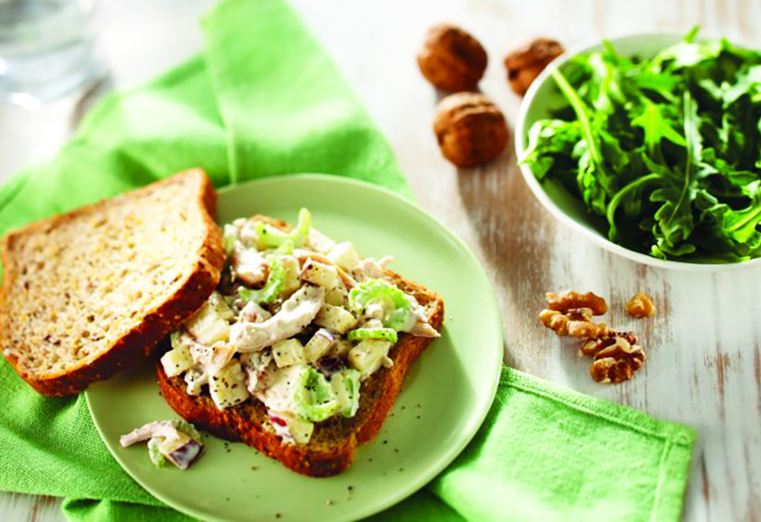 Waldorf Salad with Chicken on Bürgen® Wholegrain and Oats