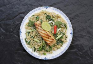 Asian Style Peal Couscous with Grilled Salmon