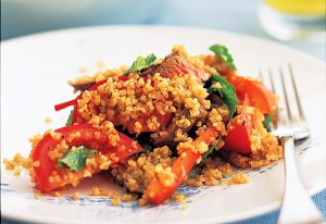 Barbecued chilli mint lamb and tomato salad