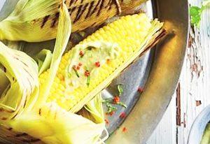 Barbecued corn with avocado cream