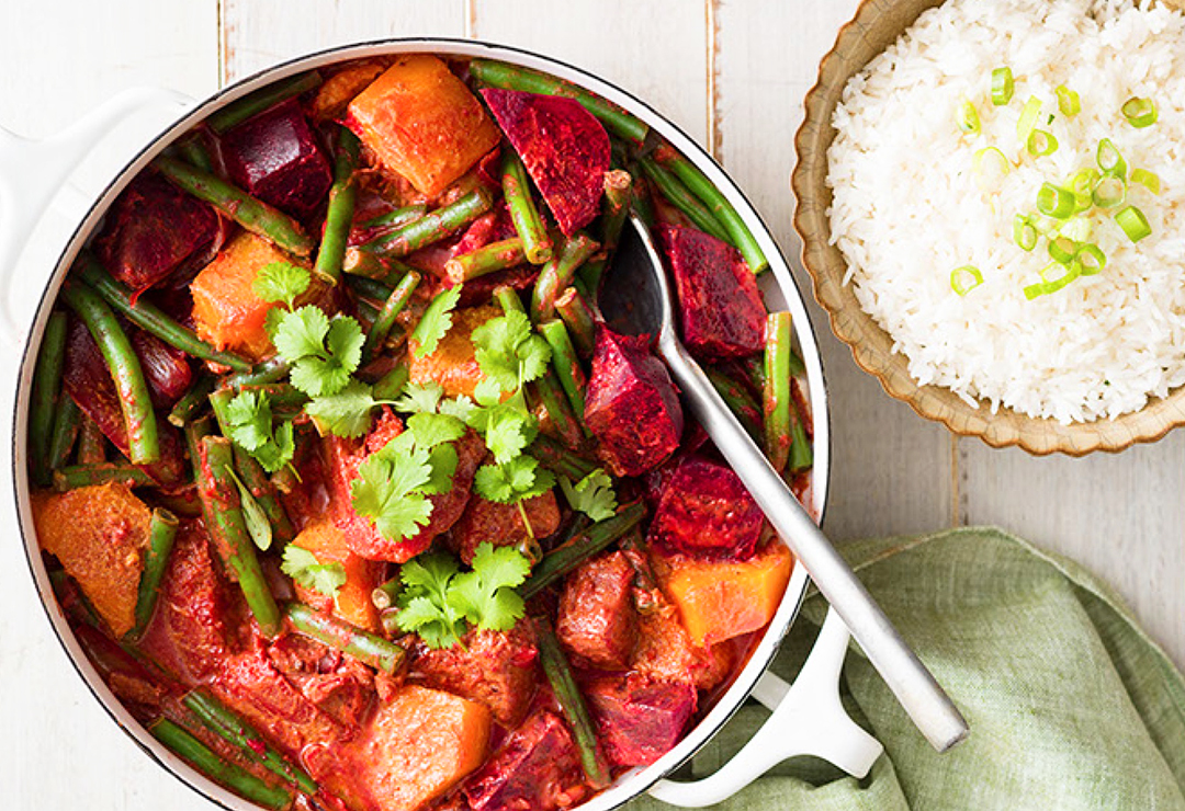 Beetroot, pumpkin and green bean curry with rice