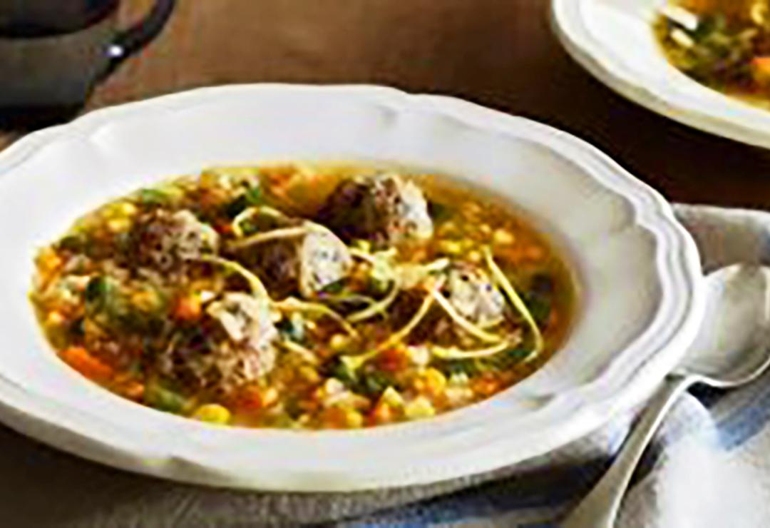 Chicken & herb meatball soup