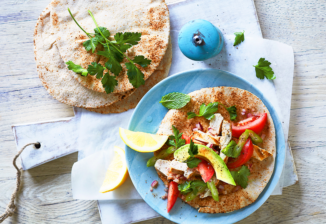 Chicken and parsley salad pitas