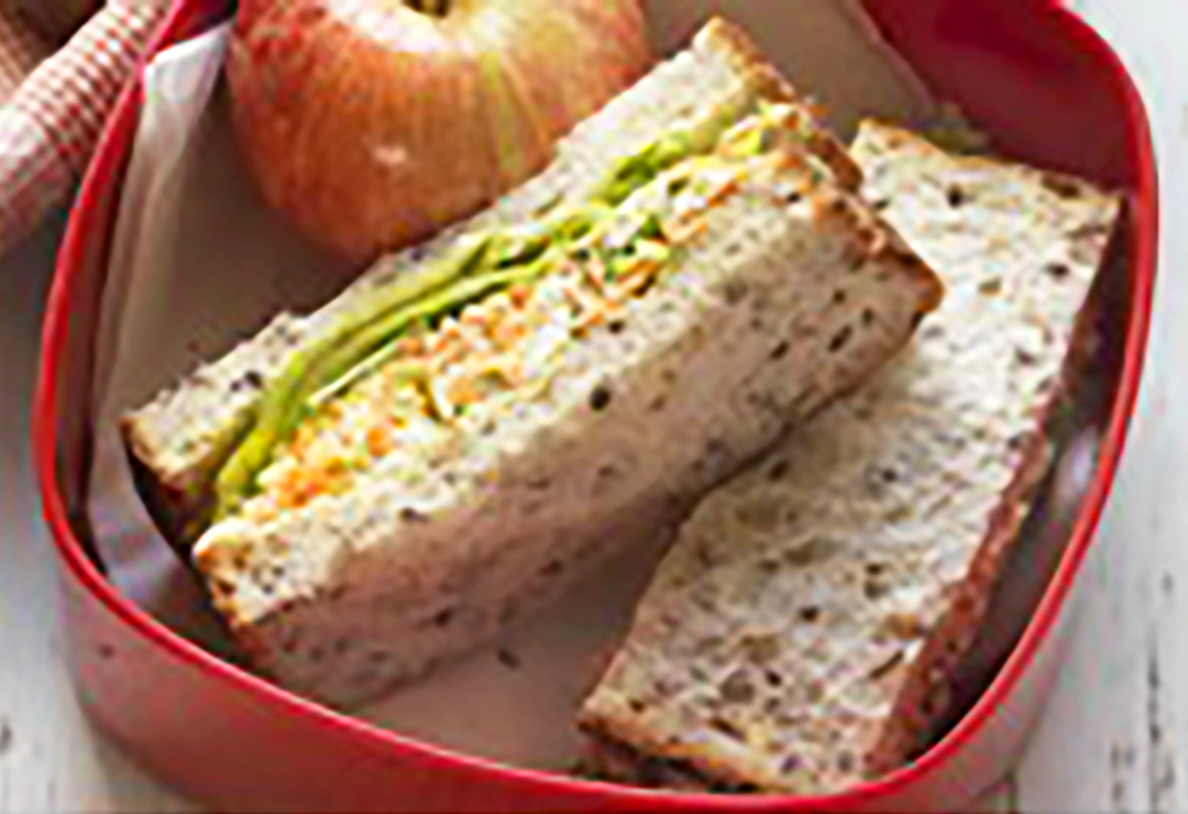 Cottage cheese and salad sandwich