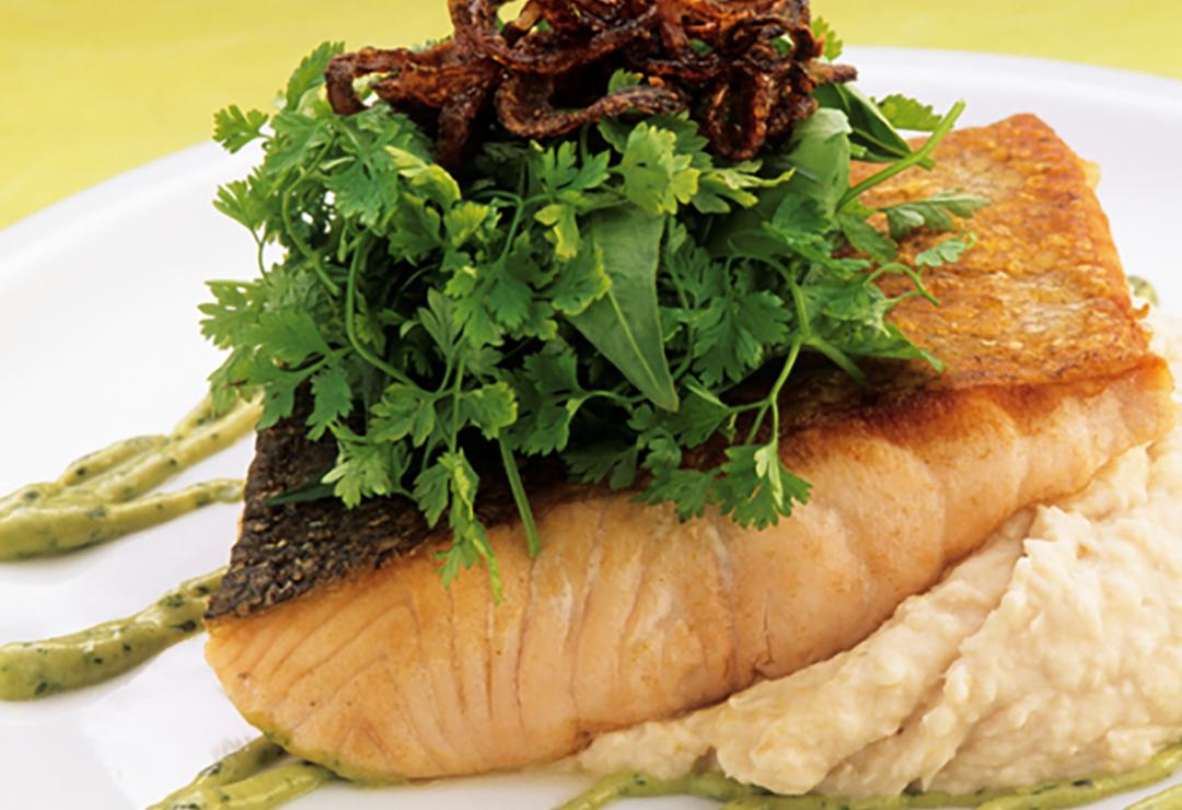 Crisp-skinned salmon