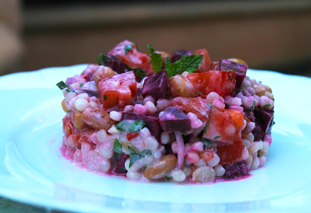 Gabriel Gaté's bean, beetroot and Pearl Couscous salad