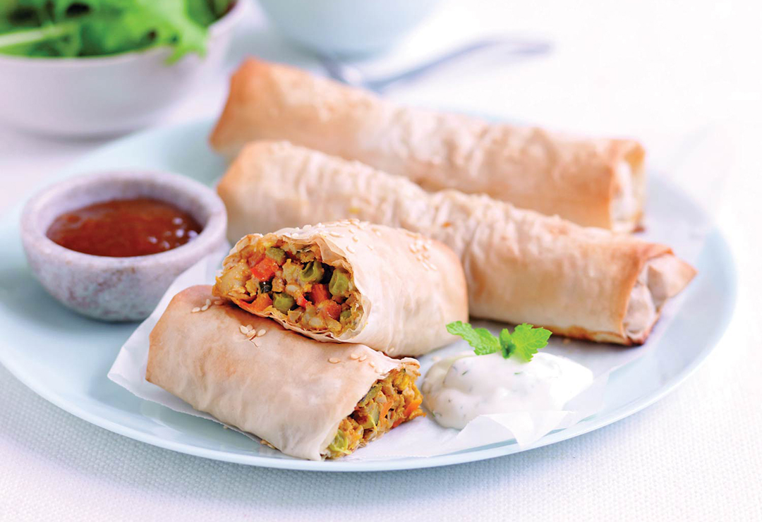 Indian-style spiced vegetable & cheese parcels
