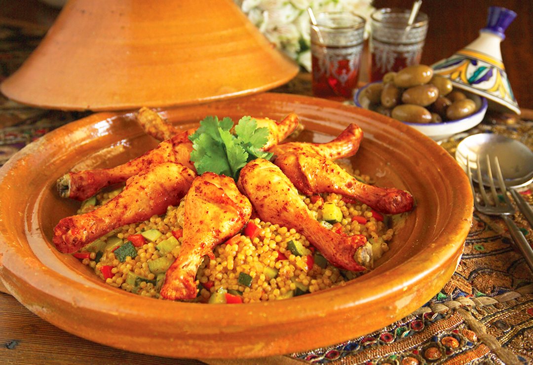 Moroccan style chicken with Pearl Couscous