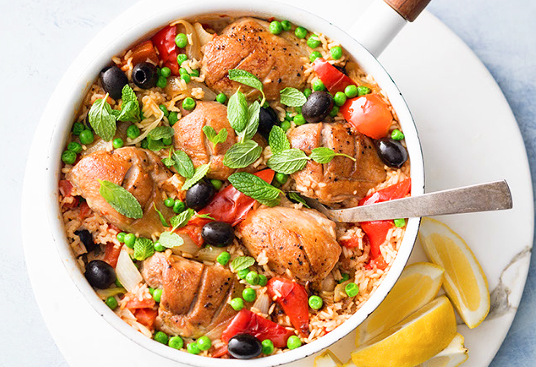 One pan chicken with rice and peas