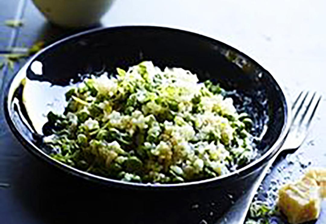 Quinoa risotto with beans, lemon & parmesan