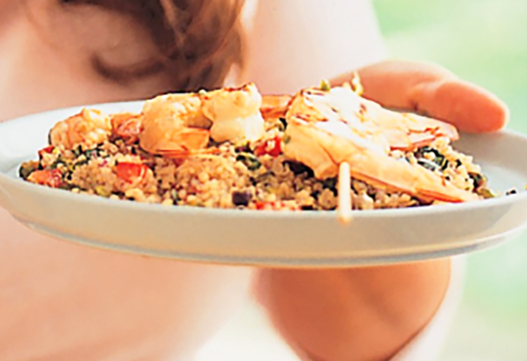 Quinoa tabbouli with prawns