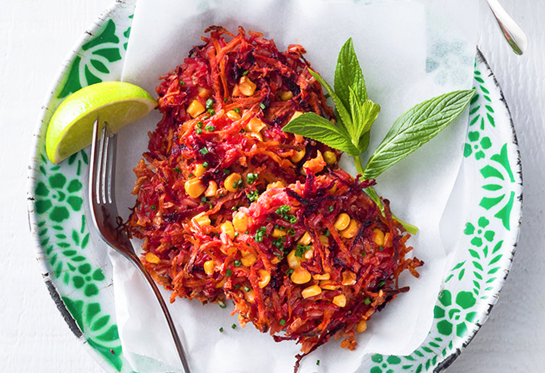 Roasted spiced rice and vegetable fritters with lime dressing
