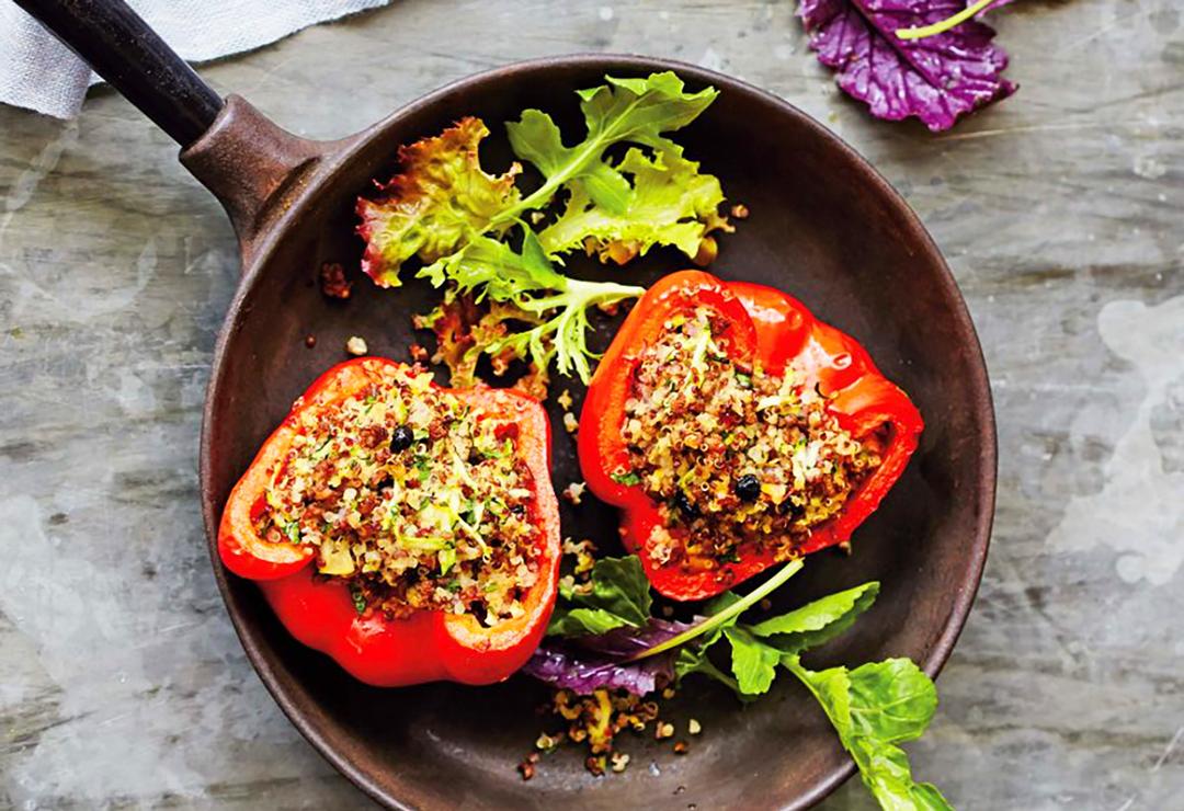 Stuffed peppers with lamb, quinoa & lemon