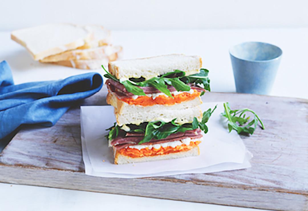 Sweet potato & corned beef sandwich