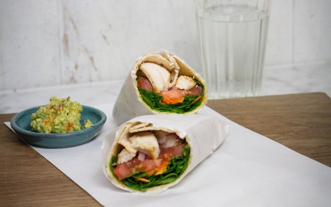 Grilled Chicken, Spinach, and Spicy Avocado Wraps