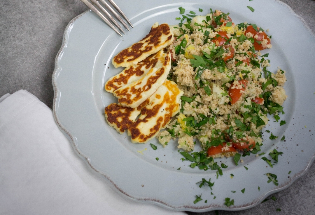 Grilled Haloumi on tabbouleh