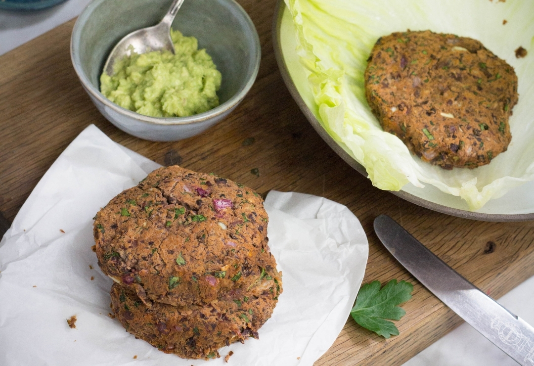 Naked Bean Burgers with avocado