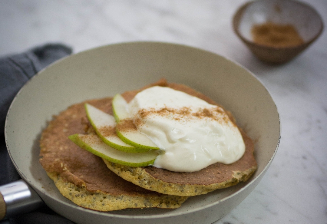 Pear Cinnamon Protein Pancakes