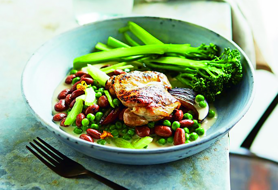 Tarragon chicken and beans