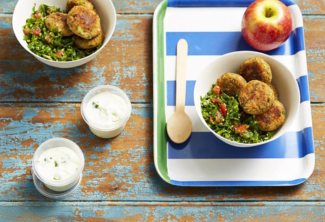 Tuna falafel and tabouleh salad