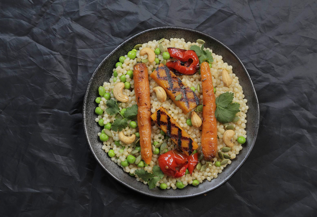 Vegetarian Pearl Couscous with roasted vegetables