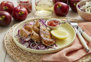 BBQ Chicken Skewers with Spicy Plum Sauce