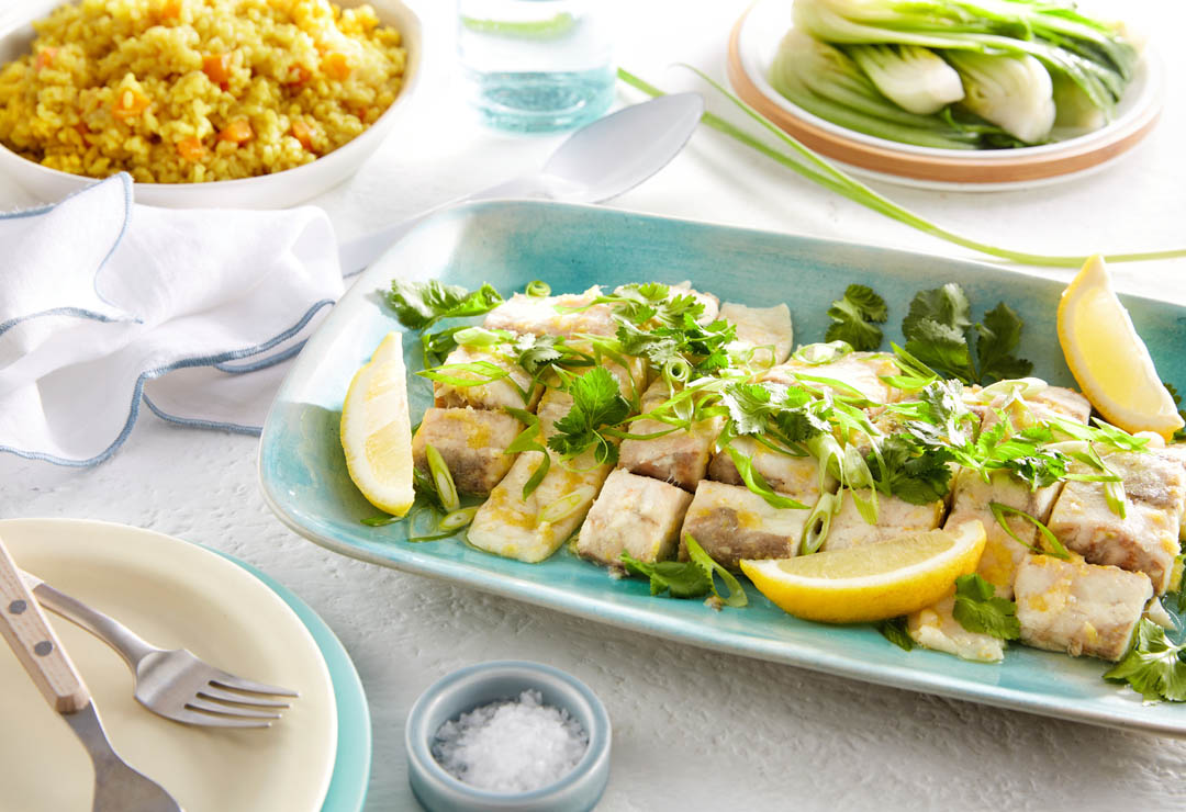 Lemon Ginger Steamed Fish with Turmeric Rice