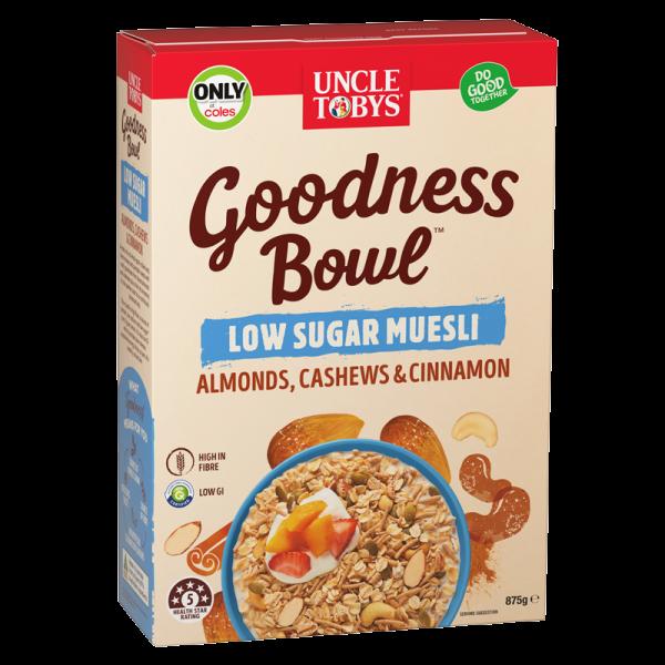 Uncle Tobys Goodness Bowl Low Sugar Muesli Almonds, Cashews & Cinnamon