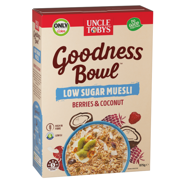 Uncle Tobys Goodness Bowl Low Sugar Muesli Berries Coconut