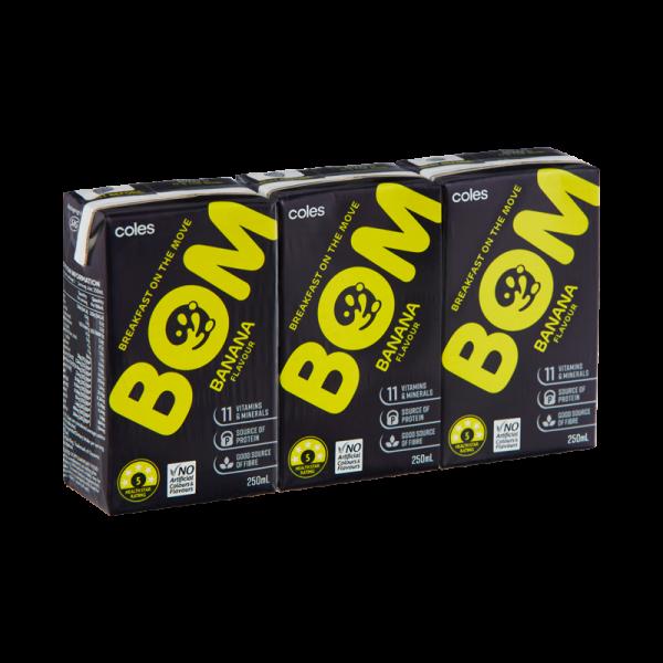 Coles Bom Banana Flavoured Liquid Breakfast 3x250mL