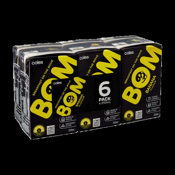 Coles Bom Banana Flavoured Liquid Breakfast 6x250mL