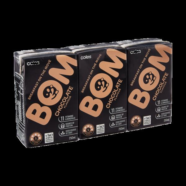 Coles Bom Chocolate Flavoured Liquid Breakfast 3x250mL