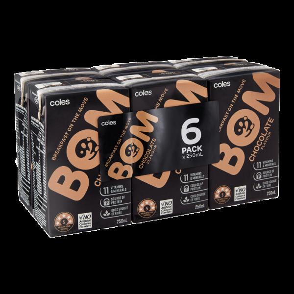 Coles Bom Chocolate Flavoured Liquid Breakfast 6x250mL