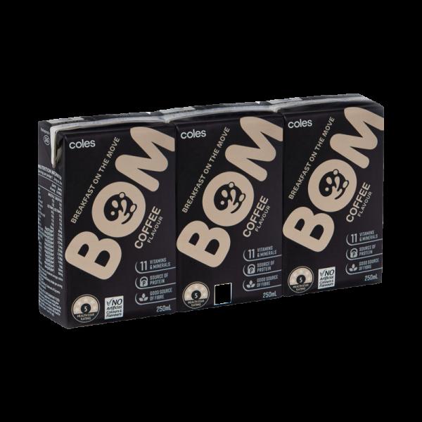 Coles Bom Coffee Flavoured Liquid Breakfast 3x250mL