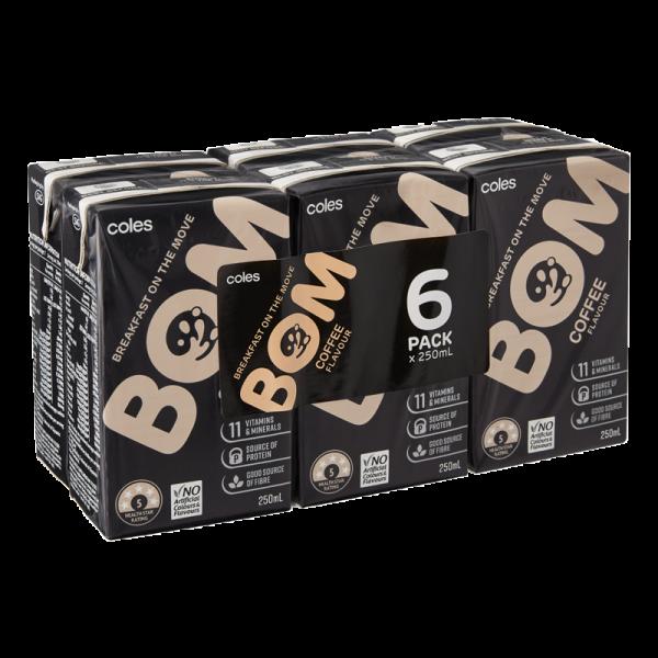 Coles Bom Coffee Flavoured Liquid Breakfast 6x250mL