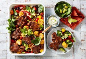 Cajun style lamb chop tray bake